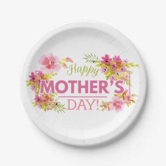 Assiettes En Papier Plaque à papier heureuse florale élégante du jour