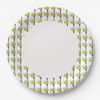 Assiettes En Papier Plaque à papier - jonquilles sur la jante