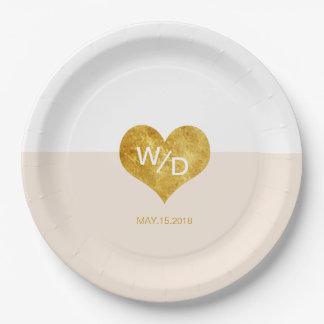 Assiettes En Papier Plaque à papier minimaliste de couleur de coeur