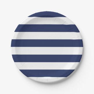 Assiettes En Papier Plaque à papier rayée bleue et blanche nautique