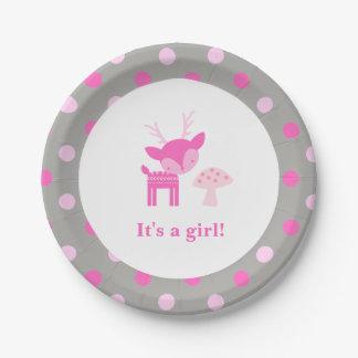 Assiettes En Papier Plaque à papier rose de baby shower de cerfs