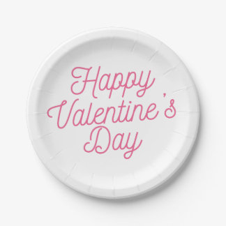Assiettes En Papier Plaque à papier rose de la heureuse