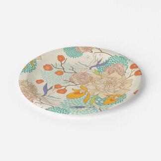 Assiettes En Papier Plaque à papier rose moderne de motif de fleur de