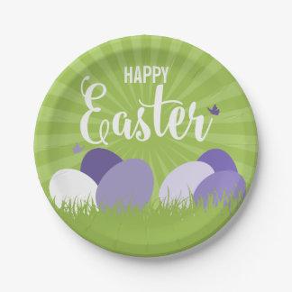 Assiettes En Papier Plaque à papier ultra-violette et verte de Pâques