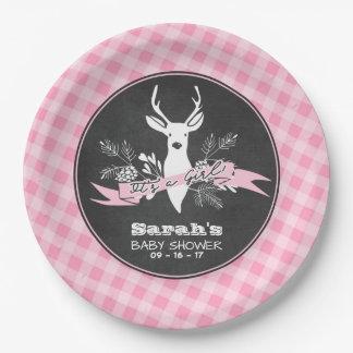 Assiettes En Papier Plaques à papier - baby shower rose de région