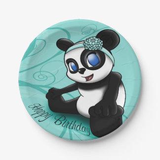 Assiettes En Papier Plaques à papier d'anniversaire floral de panda de