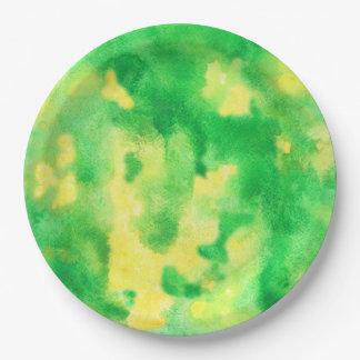 """Assiettes En Papier Plaques à papier d'aquarelle de vert jaune 9"""""""