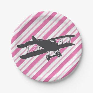 Assiettes En Papier Plaques à papier d'avion vintage rose et gris