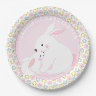 Assiettes En Papier Plaques à papier de baby shower de lapin de mère