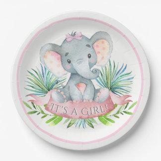 Assiettes En Papier Plaques à papier de baby shower d'éléphant de