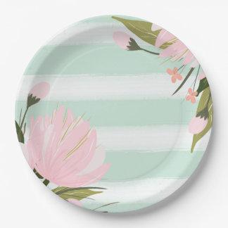 Assiettes En Papier Plaques à papier de baby shower floral rose en bon
