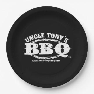 Assiettes En Papier Plaques à papier de BBQ d'oncle Tony avec le logo