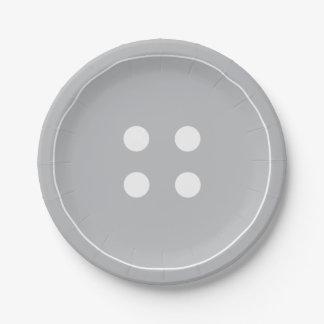 Assiettes En Papier Plaques à papier de bouton gris
