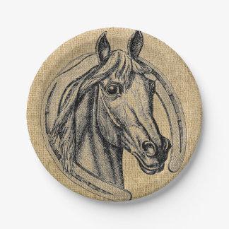 Assiettes En Papier Plaques à papier de camée vintage de cheval