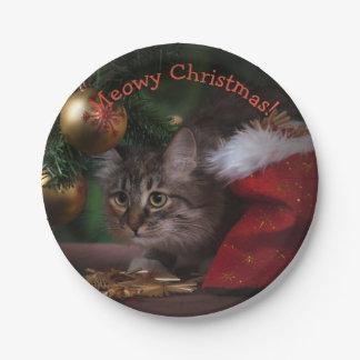 """Assiettes En Papier Plaques à papier de chat de Noël """"de Noël de"""