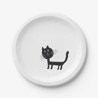 Assiettes En Papier Plaques à papier de dessin de chat noir
