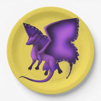 Assiettes En Papier Plaques à papier de dragon froncé de papillon