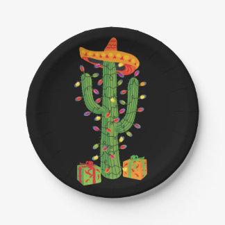 Assiettes En Papier Plaques à papier de Feliz Navidad de cactus de