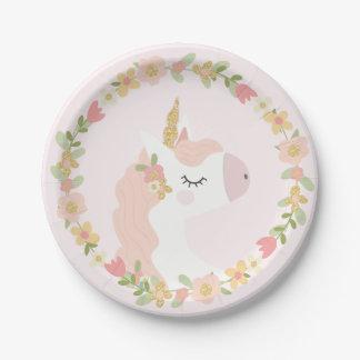Assiettes En Papier Plaques à papier de fête d'anniversaire de licorne