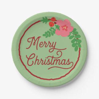 Assiettes En Papier Plaques à papier de Flora de Joyeux Noël