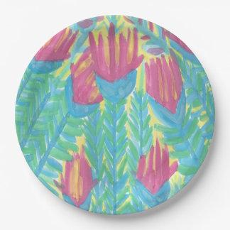 Assiettes En Papier Plaques à papier de jardin tropical de Lotus