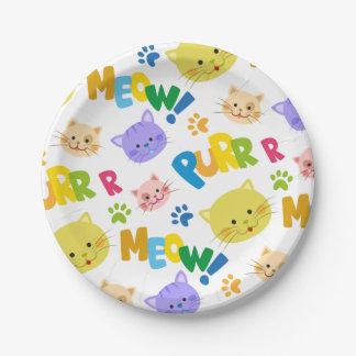 Assiettes En Papier Plaques à papier de joli de minou meow de fête