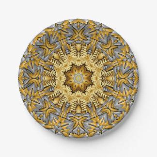 Assiettes En Papier Plaques à papier de kaléidoscope de métal précieux
