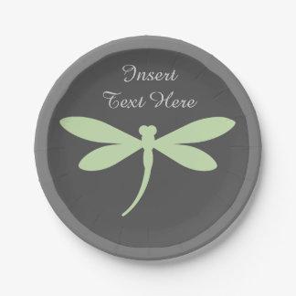 Assiettes En Papier Plaques à papier de libellule verte - monogramme