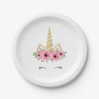 Assiettes En Papier Plaques à papier de licorne, plats de partie de