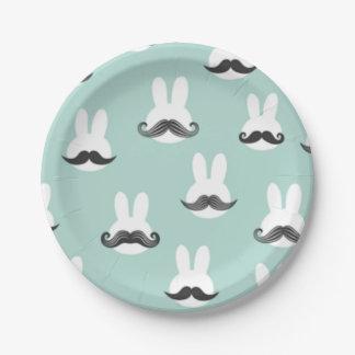 Assiettes En Papier Plaques à papier de moustache de lapin de Pâques