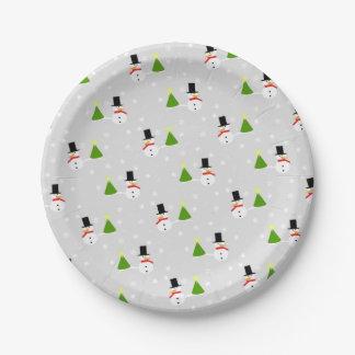 Assiettes En Papier Plaques à papier de Noël de bonhommes de neige