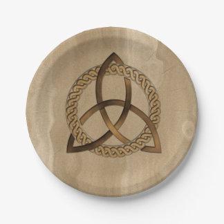 Assiettes En Papier Plaques à papier de noeud de trinité de Triquetra