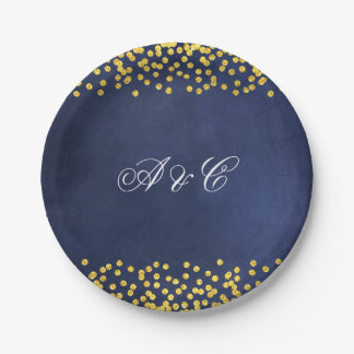 Assiettes En Papier Plaques à papier de partie d'or de ciel nocturne