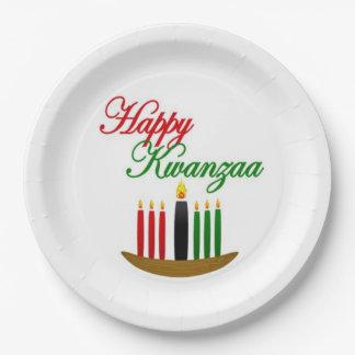 Assiettes En Papier Plaques à papier de partie heureuse de Kwanzaa