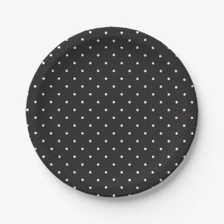 Assiettes En Papier Plaques à papier de pois noir et blanc simple