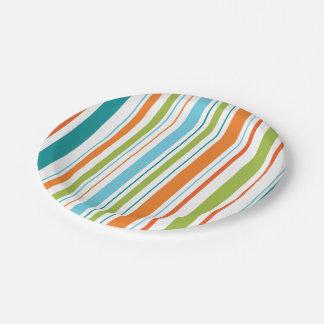 Assiettes En Papier Plaques à papier de rayure de Teal, orange et