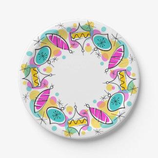 Assiettes En Papier Plaques à papier de rétro d'arbre cercle de