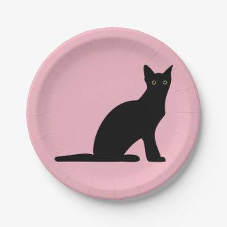 Assiettes En Papier Plaques à papier de silhouette de chat