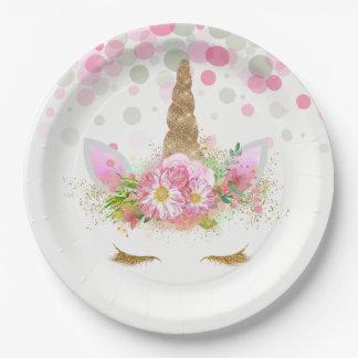 Assiettes En Papier Plaques à papier de visage de licorne