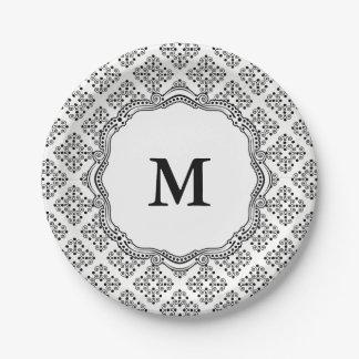 Assiettes En Papier Plaques à papier d'élégance fleurie noire et