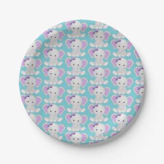 Assiettes En Papier Plaques à papier d'éléphant pourpre de turquoise