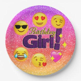 Assiettes En Papier Plaques à papier d'Emoji de fille d'anniversaire