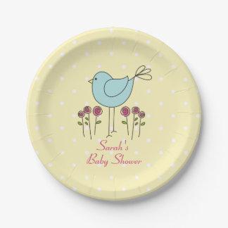 Assiettes En Papier Plaques à papier d'oiseau de baby shower bleu de
