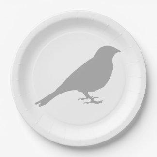 Assiettes En Papier Plaques à papier d'oiseau gris