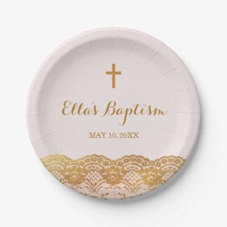 Assiettes En Papier Plaques à papier d'or de dentelle de baptême rose