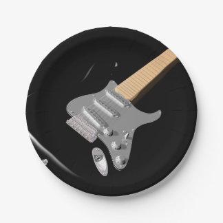 Assiettes En Papier Plaques à papier noires de guitare électrique