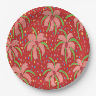 Assiettes En Papier Plaques à papier rouges tropicales de fleurs de
