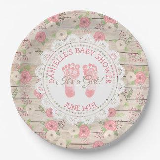 Assiettes En Papier Plaques à papier rustiques en bois et de fleurs de