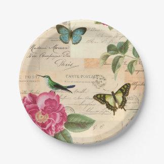 Assiettes En Papier Plaques à papier vintages Girly avec des oiseaux