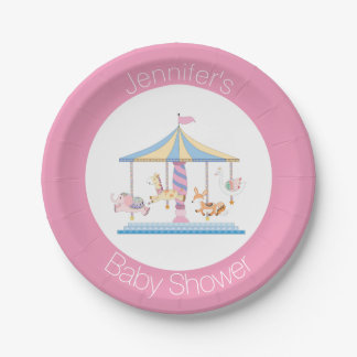 Assiettes En Papier Plat animal en pastel de baby shower de carrousel